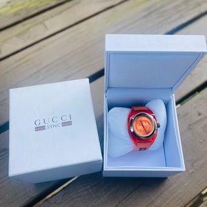 Gucci sync unisex  orange rubber watch